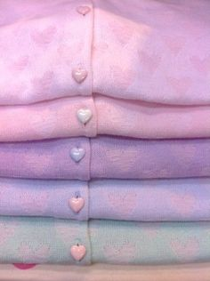 Pretty pastel heart patterned cardigans with heart-shaped buttons, how I'd love… Pastel Fashion, Kawaii Fashion, Lolita Fashion, Cute Fashion, Harajuku Fashion, Girl Fashion, Soft Colors, Pastel Colors, Soft Pastels