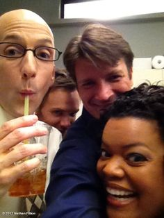 Either Nathan Fillion just knows where to find everyone, or he's guest starring on Community when it comes back on. Hopefully it's the latter. #savecommunity