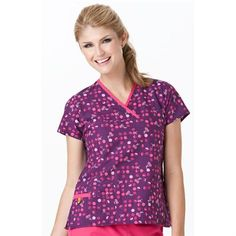 Wink Scrubs Printed Mock Wrap Tops    $17.99