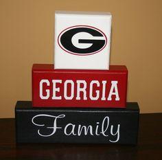 Hand Painted UGA Georgia Bulldogs Family Blocks. $24.00, via Etsy.