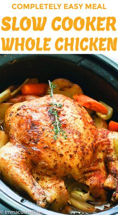 Slow Cooker Whole Chicken - Recipes - Healthy recipes easy Best Slow Cooker, Slow Cooker Recipes, Crockpot Recipes, Cooking Recipes, Cooking Blogs, Cooking Whole Chicken, Stuffed Whole Chicken, Slow Cooker Chicken Whole, Rotisserie Chicken In Crockpot