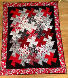 Red Black & White Finished Twister Lap Quilt by CleverQuilts, $188.00