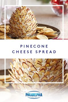 all pinecones grow on trees. Some are made in the kitchen to celebrate the holidays. Combine shredded cheese, mustard, green chiles and PHILADELPHIA Cream Cheese.Then decorate with almond slices. Christmas Party Food, Christmas Appetizers, Christmas Baking, Party Snacks, Appetizers For Party, Appetizer Recipes, Holiday Treats, Christmas Treats, Thanksgiving Recipes