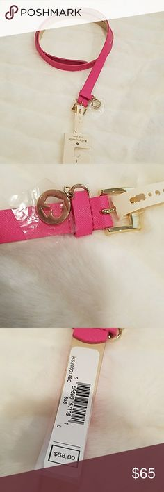 NWT Kate Spade belt Leather Hot pink ❄host pick!❄ NWT Kate Spade belt. Leather. Hot pink & gold tone spade logo charm. Size Large. Leather is 42' long with a 3/4' width. kate spade Accessories Belts