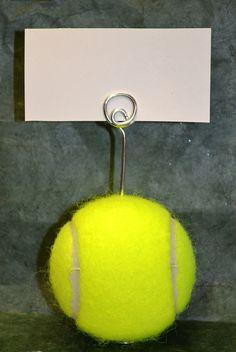 Tennis Ball Escort Card Holder  Business by paulasbartlion on Etsy, $3.25