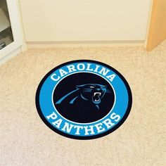 Round Carolina Panthers Floor Rug