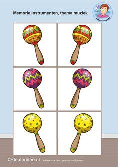 Muziekinstrumenten memorie 3, thema muziek,  kleuteridee, Kindergarten music memory game, free printable.