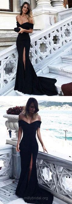 Prom Dresses, Black Prom Dresses, Long Prom Dresses Modest, Trumpet/Mermaid Prom Dresses For Teens, 2018 Prom Dresses Off-the-shoulder, Satin Prom Dresses Split Front