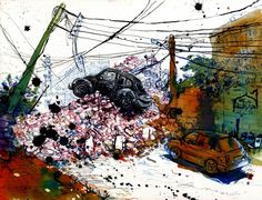 Scenes from the Syrian War is a collection illustrated articles serialized in Vanity Fair, made in collaboration with an anonymous source within Syria. Using photos sent via cell phone, Molly recre… Molly Crabapple, Drawing Blood, Bbc World Service, Urban Sketchers, Ap Art, Banksy, Famous Artists, Syria, Art Day