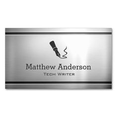 Technical Writer - Premium Stainless Steel Metal Double-Sided Standard Business Cards (Pack Of 100)
