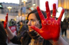 Protest against cruelty to animals in Madrid