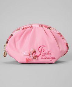 Pink Bella Rosa Round-Top Cosmetic Bag