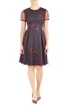 #Floral #embellished #tulle and polka dot dress from eShakti