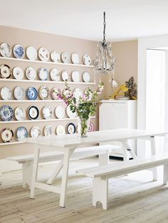 Pale Pink Dining Room Balance rosy walls with rustic furniture. Lots of white accents keep this pretty dining room, painted in Farrow & Ball's Pink Ground light and fresh.would like to do the plate wall! Decor, Wall Decor, Interior, Dining Room Design, Plates On Wall, Cottage Dining Rooms, Pink Dining Rooms, Plate Decor, Vintage Plates