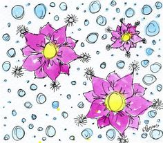 """Flowers and Bubbles"" - Original Fine Art for Sale - Watercolor and Ink - © Kali Parsons - http://kaliparsons.blogspot.com"