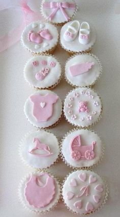 Tortine Boutique Cakes adds wow factor to your party - Cupcake Baby Shower Ideen Baby Cupcake, Baby Girl Cupcakes, Christening Cupcakes Girl, Birthday Cupcakes, Gateau Baby Shower, Baby Shower Cookies, Cupcakes For Baby Shower, Baby Shower Cupcake Toppers, Fondant Toppers