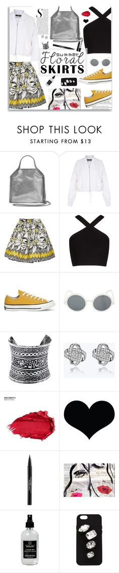 """""""Summer Floral Skirts"""" by jafashions ❤ liked on Polyvore featuring STELLA McCARTNEY, TIBI, Alice + Olivia, BCBGMAXAZRIA, Converse, LULUS, Urban Decay, Trish McEvoy, Oliver Gal Artist Co. and Little Barn Apothecary"""