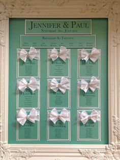 Tiffany theme table plan with bows and jewels. Pick table names that represent you and your groom...or you can always use table numbers