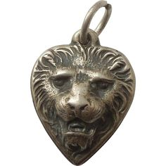 Sterling Silver Puffy Heart Charm - Ferocious Repousse Lion Face - Engraved 'MR'