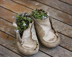 Creative Things To Do With Old Baby Shoes Kreative Dinge, die man mit alten Babyschuhen machen kann Designer Baby Shoes, Shoe Crafts, Shoe Display, Old Shoes, Upcycled Crafts, Repurposed Items, Baby Steps, Childrens Shoes, Yard Art