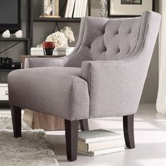 TRIBECCA HOME Tess Wingback Tufted Linen Upholstered Club Chair - Overstock™ Shopping - Great Deals on Tribecca Home Living Room Chairs