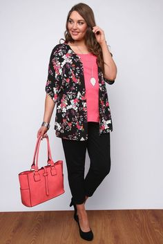 Black And Multi Print Floral LASTEST STYLE Kimono Shrug: Amazon.co.uk: Clothing
