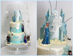 Disney Frozen birthday cake, ice castle topper, Cakes by Camille, LLC