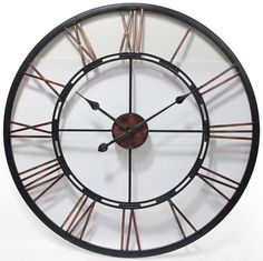 """Metal Fusion by Infinity Instruments. 24"""" Large metal clock with a welded open dial. #clock #decor #metal"""