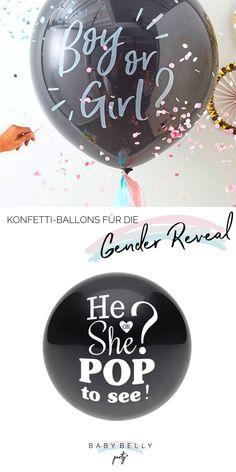 Undurchsichtig schwarze Ballons, die bei der Gender Reveal rosa oder hellblaues Konfetti regnen! Junge oder Mädchen? Mit den Ballons können Sie es verraten! Reveal Parties, Gender Reveal, Boy Or Girl, Party, Christmas Bulbs, Holiday Decor, Pink, Confetti Balloons, Balloons