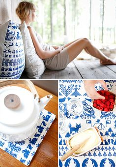 """The textile designers Saana and Olli combine olden times myths and magical creatures with traditional Finnish textile art in their new print named Yö metsässä (which translates """"A Night in the Forest""""). Picnic Blanket, Outdoor Blanket, Patio Pillows, Blue China, Textile Design, Textile Art, Marimekko, New Print, Scandinavian Design"""