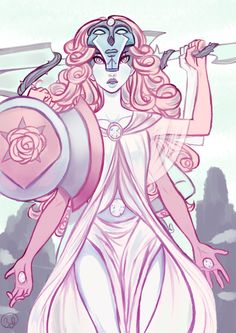 My headcanon for what all four crystal gems look like fused, based off the temple. She has a giant sword and shield/ax combo thingy. I personally think the gem they form would be Diamond! I hope one day we actually get to see it!