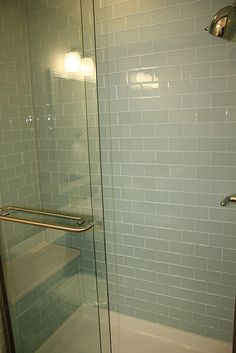 Glass subway tile shower | Flickr - Photo Sharing!