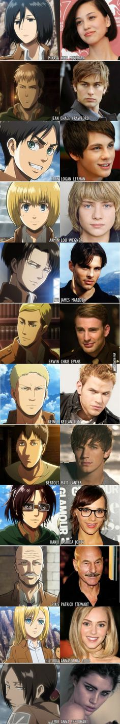 This would have been a better cast, in my opinion that is, but I feel like you could get better people for Armin , and levi Attack On Titan Funny, Attack On Titan Ships, Attack On Titan Anime, Ymir, Ereri, Otaku Anime, Anime Meme, Anime Boys, Levi X Eren