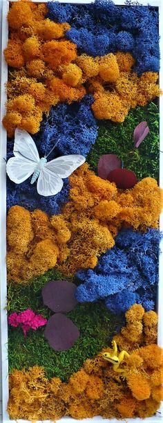 tableau végétalisé avec lichen de Finlande teinté et stabilisé cadre contemporain Rose Stabilisée, Moss Garden, Decoration, Buildings, Etsy, Cabinet, Plants, Art, Gardens