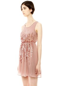 pretty rose colored sequin party dress