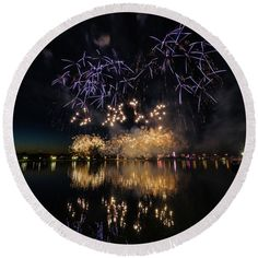 Color Splash Round Beach Towel featuring the photograph Fireworks 16 by Tom Clark