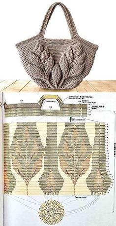Make And Profit: 26 Crochet Bag Models With Graphic Ro .-Faça E Lucre: 26 Modelos De Bolsa De Crochê Com Gráfico – Ron Make And Profit: 26 Crochet Bag Models With Graphics – Buzztmz Diy Crafts Hadido Buzztmz - Diy Crafts - hadido Crochet Leaves, Crochet Motifs, Crochet Tote, Crochet Handbags, Crochet Purses, Bead Crochet, Crochet Stitches, Crochet Patterns, Diy Crafts Crochet