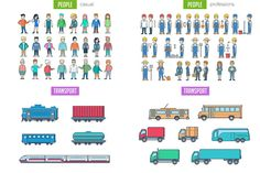 Linear World Scene Generator - biggest vector library with more than 800 objects done in linear style. Constructor will help you create your own scene, illustration, banner, explainer Features: - 800+ vector objects - strokes not expanded! - AI, EPS, Objects: - People: casual, business, professions, sports, family - Vehicles: bus, car, moto, bicycle, truck, airplane skyscrapers, city countryside buildings, landscape plants - Interior (house, medical, office, different shops, cafe…