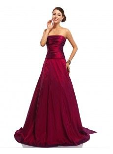 Red Natural Taffeta A-Line Evening Prom Dress