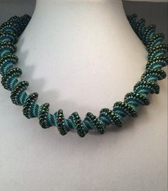 Turquoise Cellini Spiral Beaded Necklace by ElementalGracebyKBD