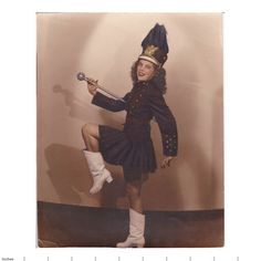 Old Photo Hand Tinted Colored Majorette in Uniform Pretty Girl | eBay