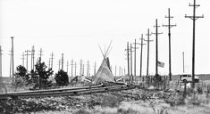 Teepee in Protest across the railroad tracks at Rocky Flats, in Boulder, CO