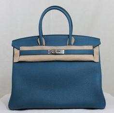 Auth Hermes Birkin 35 Bleu Cobalt Togo Phw Bnib