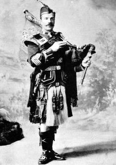 Old photograph of a Piper from The Highland Light Infantry in Glasgow, Scotland