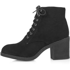 TopShop Best Lace-Up Boots ($35) ❤ liked on Polyvore featuring shoes, boots, ankle booties, black, heels, black ankle booties, heeled booties, lace up heel boots, chunky heel booties and block heel booties