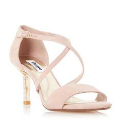 DUNE LADIES MINDEE - Diamante Mid Heel Cross Strap Sandal - blush   Dune Shoes Online