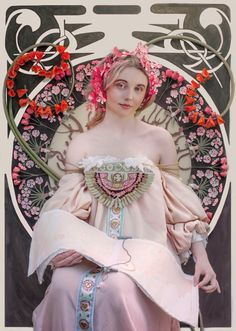 """Re-creation of Mucha's """"Reverie"""" Set, Costume and Props: Larissa Gauger Model: Alana Armstrong Make-up: Jake Alexander Armstrong Photo: Phoebe Cheong Photography — with Jake Alexander Armstrong, Alana Armstrong and Larissa Gauger."""