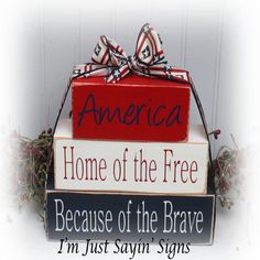 America Home of the Free Because of the Brave Wood Stacking Blocks These wood stacker blocks have been base painted red, white and dark blue. The edges have been sanded to give them a worn, distressed look. The lettering is done in blue, red and white v Old Wood Crafts, 2x4 Crafts, Wood Block Crafts, Wood Blocks, Diy Crafts To Sell, Home Crafts, Wood Projects, Glass Blocks, 4th July Crafts