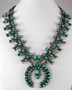 Antique Squash Blossom Turquoise Wedding Necklace