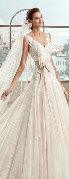 "Colet pink-ivory ""A"" line dress, in tulle with rebrodè beading lace and chantilly lace. Colet 2017 Collection - Wedding dress"